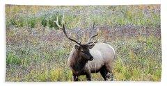 Elk In Wildflowers #1 Beach Towel