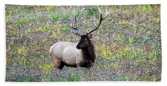 Elk In Wildflowers #2 Beach Sheet