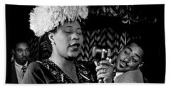 Ella Fitzgerald Dizzy Gillespie And Ray Brown William Gottlieb Photo Nyc 1947-2015 Beach Sheet by David Lee Guss
