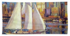 Beach Towel featuring the painting Elliot Bay by Steve Henderson