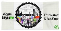 elliptiGO meets the 5 boros bike tour Beach Towel