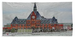 Ellis Island No. 49-1 Beach Sheet by Sandy Taylor