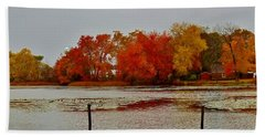 Beach Towel featuring the photograph Elmer Lake In Autumn by Ed Sweeney