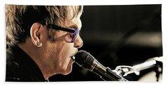 Elton John At The Mic Beach Towel