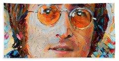 John Lennon Portrait Impasto Beach Towel