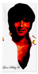 Beach Towel featuring the mixed media Elvis By Loxi Sibley by Loxi Sibley
