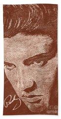 Elvis Preslely - Sepia  Beach Towel by Prar Kulasekara