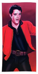 Elvis Presley 4 Painting Beach Towel by Paul Meijering