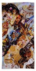 Elvis Presley Collage Art  Beach Sheet by Gull G