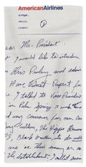 Elvis Presley Letter To President Richard Nixon Beach Towel