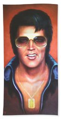 Beach Towel featuring the painting Elvis Presley by Loxi Sibley