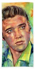 Elvis Presley Watercolor Beach Towel