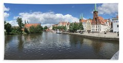 Embankment Of Trave In Luebeck Beach Towel