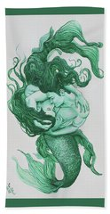 Embracing Mermen Beach Towel