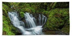 Emeral Falls Waterscape Art By Kaylyn Franks Beach Towel