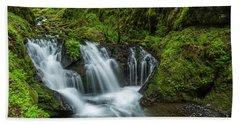 Emeral Falls Waterscape Art By Kaylyn Franks Beach Towel