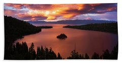 Emerald Bay Fire Beach Towel