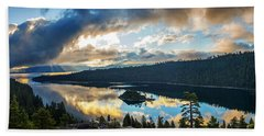 Emerald Bay Sunrise Rays Beach Towel