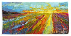 Emerald Dreams Modern Impressionist Oil Painting  Beach Towel