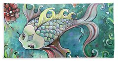 Emerald Koi Beach Towel