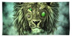 Emerald Steampunk Lion King Beach Towel