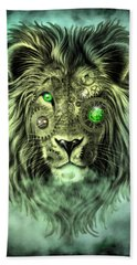 Emerald Steampunk Lion King Beach Towel