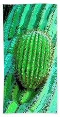 Saguaro Cacti Mixed Media Beach Towels