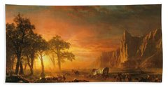 Beach Towel featuring the photograph Emigrants Crossing The Plains - 1867 by Albert Bierstadt