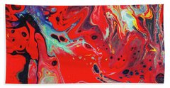 Emotional Soul - Red Abstract Canvas Painting Beach Towel by Gordan P Junior