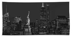 Beach Towel featuring the photograph Empire State And Statue Of Liberty II Bw by Susan Candelario