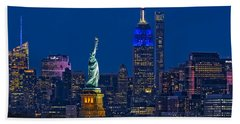 Beach Towel featuring the photograph Empire State And Statue Of Liberty II by Susan Candelario