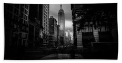 Empire State Building Bw Beach Towel