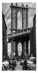 Empire State Building Framed By Manhattan Bridge Beach Sheet