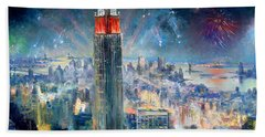 Empire State Building In 4th Of July Beach Sheet by Ylli Haruni