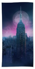 Empire State Building Moonlight Beach Towel