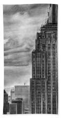 Empire State Building New York Pencil Drawing Beach Sheet