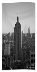 Empire State Building Sunset Bw Beach Towel