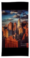 Empire State In Gold Beach Towel by Miriam Danar