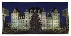 Empire State Plaza Holiday Beach Towel