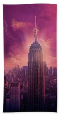 Empire State Building Sunset Beach Towel