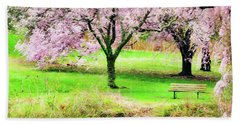 Beach Towel featuring the photograph Empty Bench Surrounded By Spring Colors by Gary Slawsky