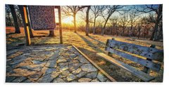 Empty Park Bench - Sunset At Lapham Peak Beach Sheet by Jennifer Rondinelli Reilly - Fine Art Photography