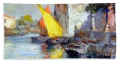 Beach Towel featuring the painting En Plein Air In Venice by Rosario Piazza