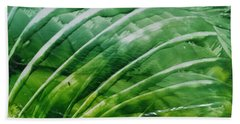 Encaustic Abstract Green Fan Foliage Beach Towel