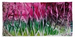 Encaustic Abstract Pinks Greens Beach Towel