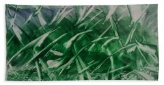 Encaustic Green Foliage With Some Blue Beach Towel