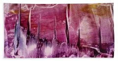 Encaustic Purple-pink Abstract Castles Beach Towel