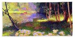 Enchanted By Daisies, Modern Impressionism, Wildflowers, Silver Birch, Aspen Beach Towel