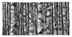 Enchanted Forest -black And White Beach Towel