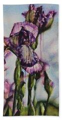 Enchanted Iris Garden Beach Towel